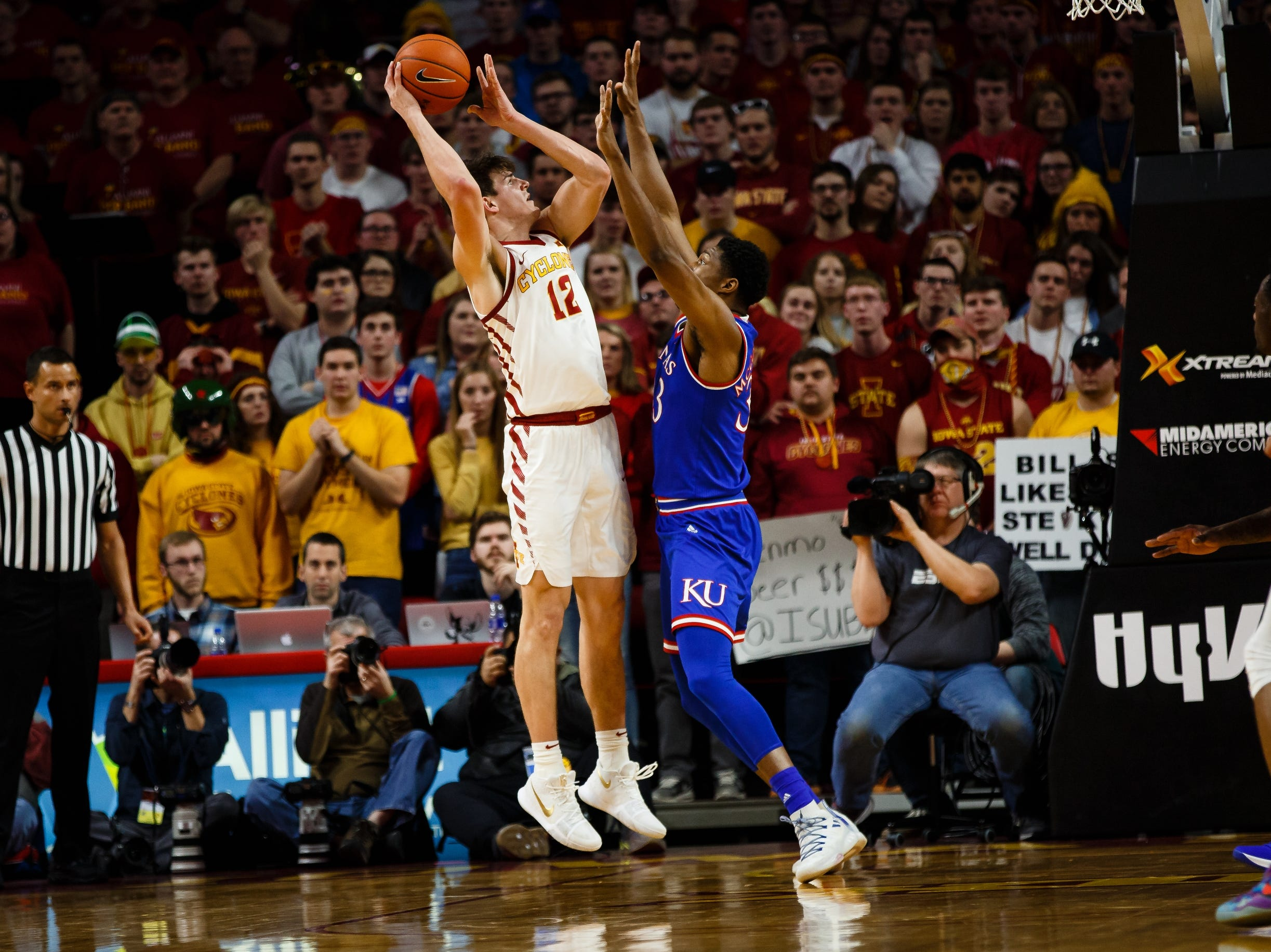 Iowa State's Michael Jacobson (12) shoots during the first half of their basketball game on Saturday, Jan. 5, 2019, in Ames.