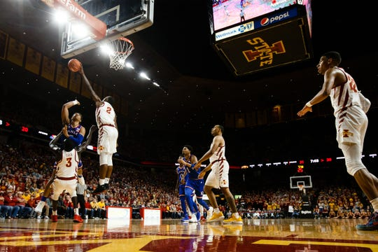 Iowa State's Cameron Lard (2) blocks the shot of during the first half of their basketball game on Saturday, Jan. 5, 2019, in Ames.