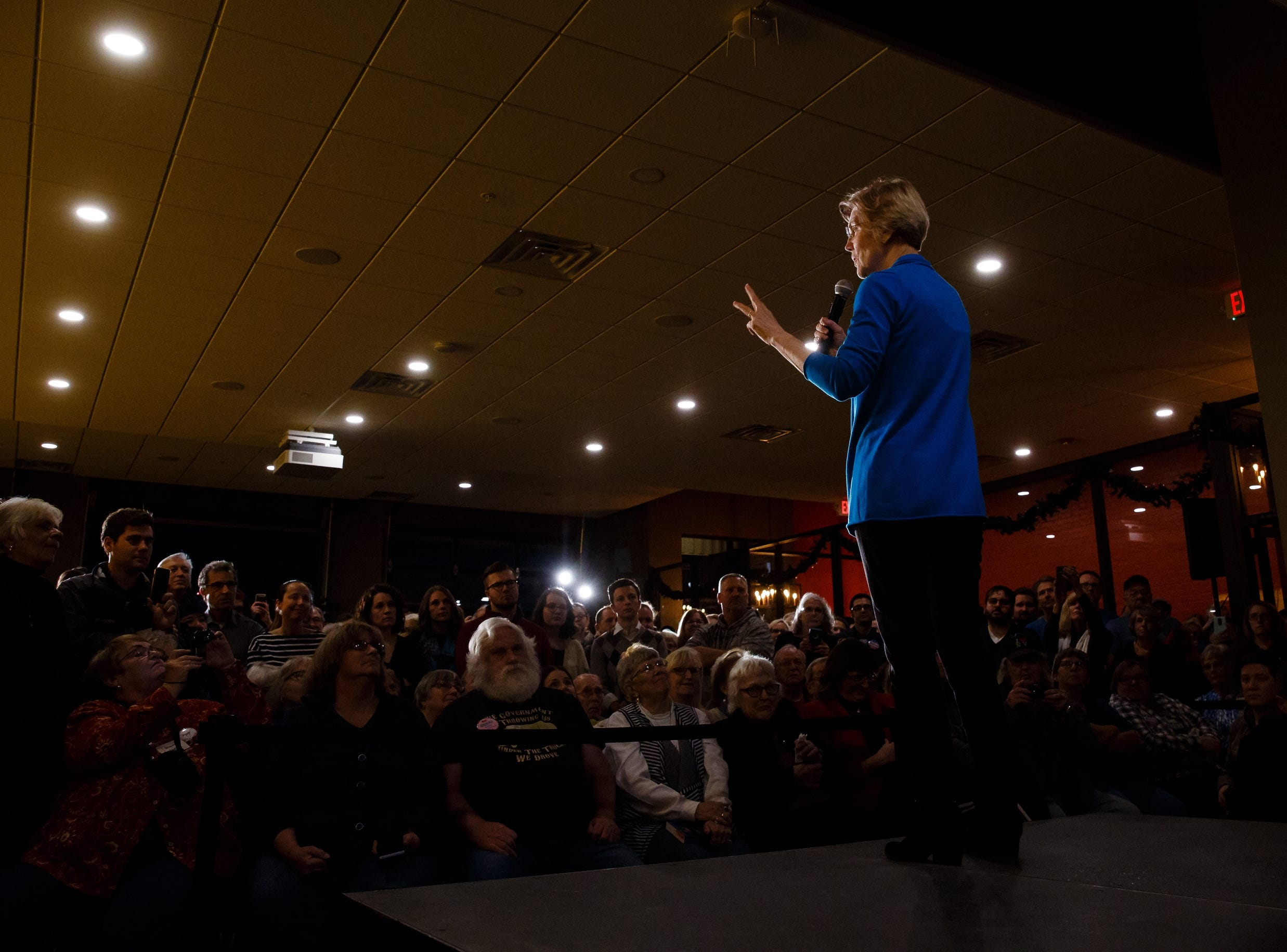 Elizabeth Warren speaks during an event on her first trip through Iowa as a possible 2020 presidential candidate on Friday, Jan. 4, 2019, in Council Bluffs.