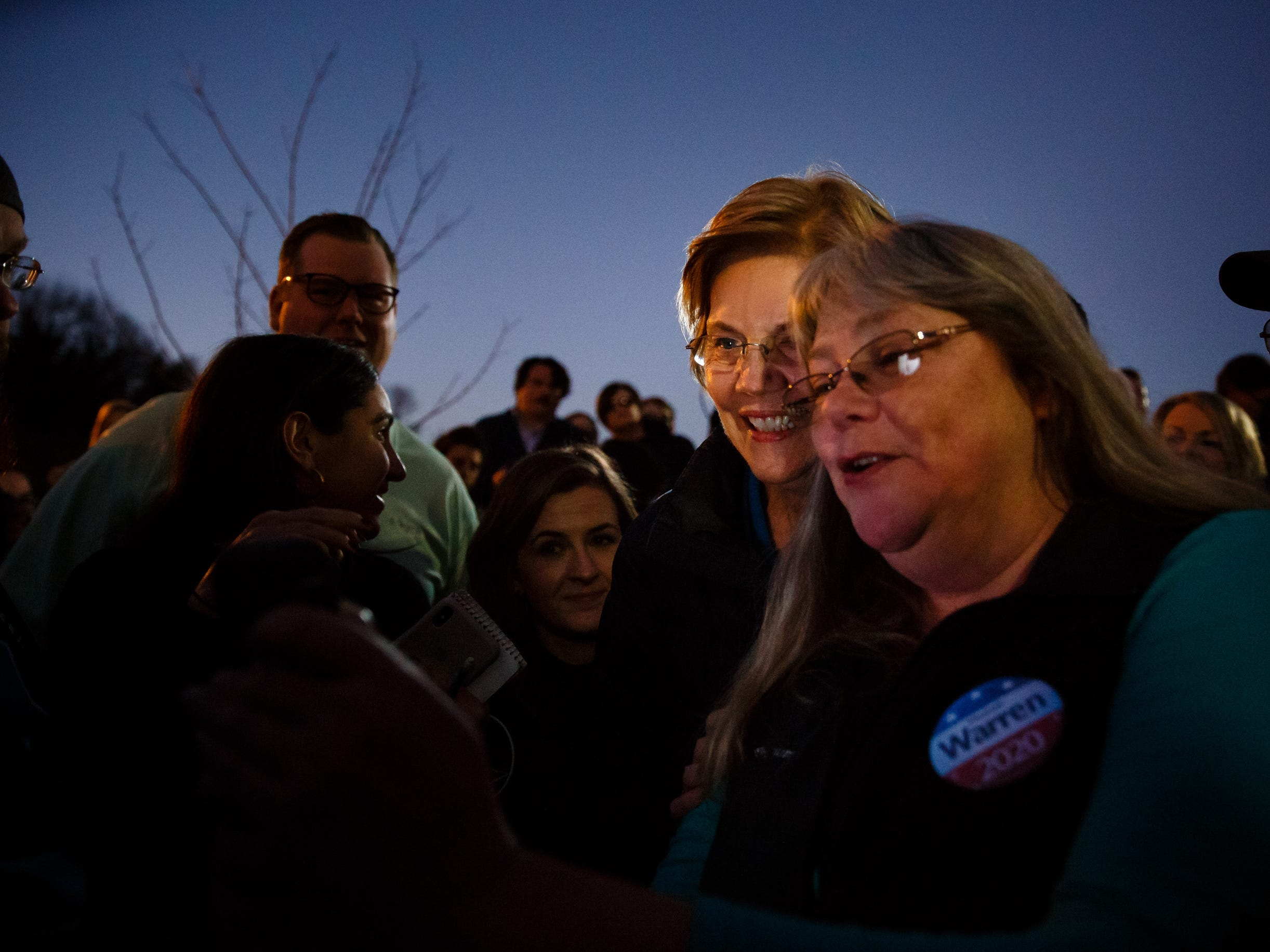 Sen. Elizabeth Warren takes photos with the overflow crowd during an event on her first trip through Iowa as a possible 2020 presidential candidate on Friday, Jan. 4, 2019, in Council Bluffs.