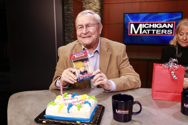 "Oakland County Executive L. Brooks Patterson celebrates his 80th birthday during taping of CBS 62's ""Michigan Matters."" He talks about his political future on show airing 11:30 am Sunday."