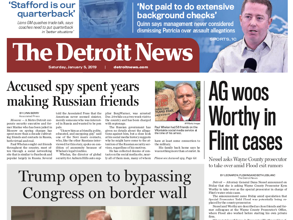 The front page of The Detroit News on Saturday, January 5, 2019