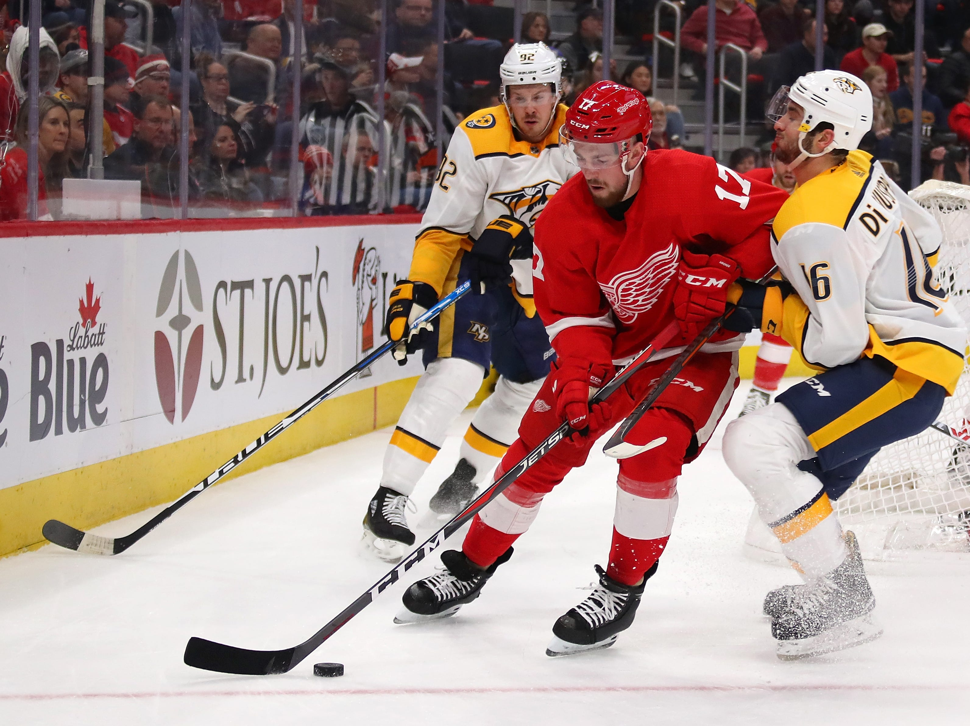 DETROIT, MICHIGAN - JANUARY 04:  Filip Hronek #17 of the Detroit Red Wings battles for the puck against Phillip Di Giuseppe #16 of the Nashville Predators during the first period at Little Caesars Arena on January 04, 2019 in Detroit, Michigan. (Photo by Gregory Shamus/Getty Images)