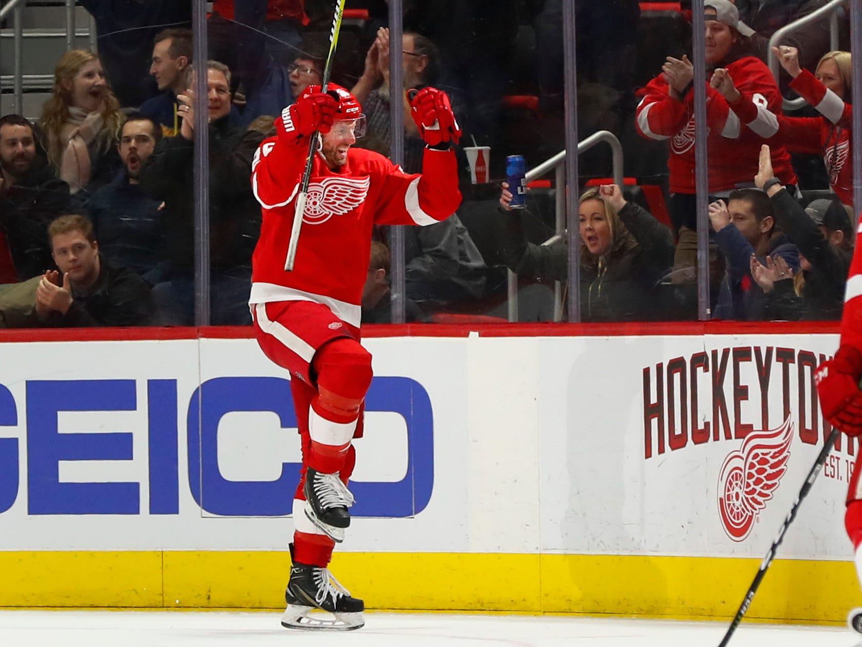 Detroit Red Wings' Thomas Vanek celebrates his goal against the Nashville Predators in the second period.