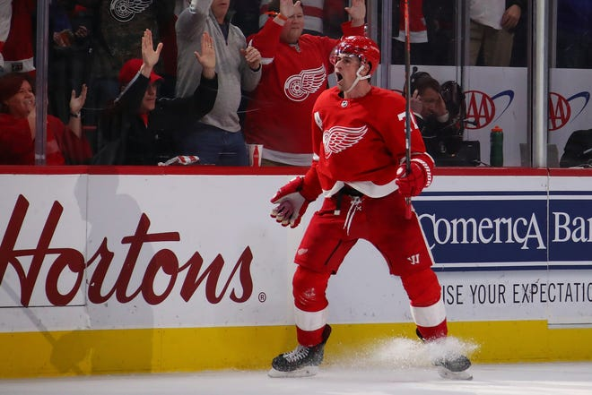 Red Wings' Dylan Larkin reacts to his winning overtime goal against the Predators on Friday.