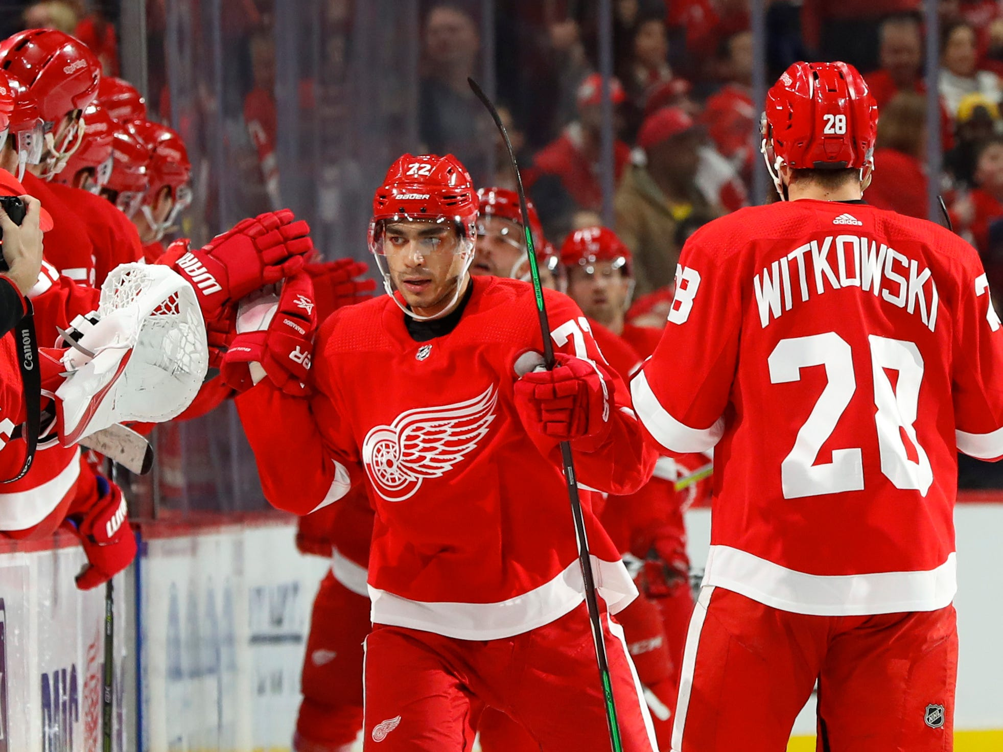 Detroit Red Wings center Andreas Athanasiou (72) celebrates his goal in the second period.