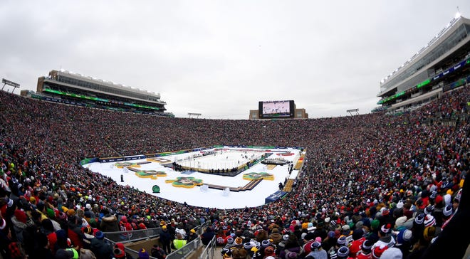 A general view of the NHL Winter Classic at Notre Dame Stadium on New Year's Day in 2019.