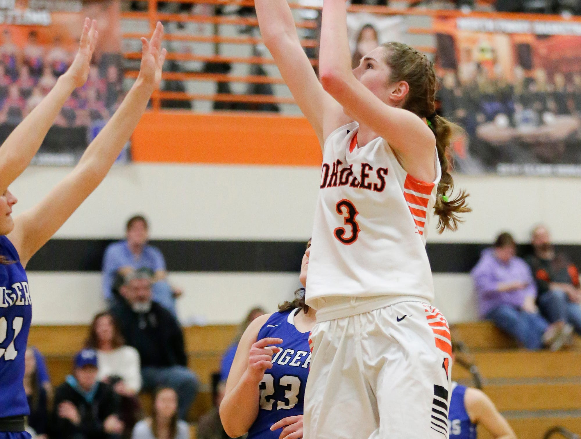 North Fond du Lac High School girls basketball's Rebecca Kingsland goes up for a shot against St. Mary's Springs Academy during their game Friday, January 4, 2019 in North Fond du lac. Doug Raflik/USA TODAY NETWORK-Wisconsin