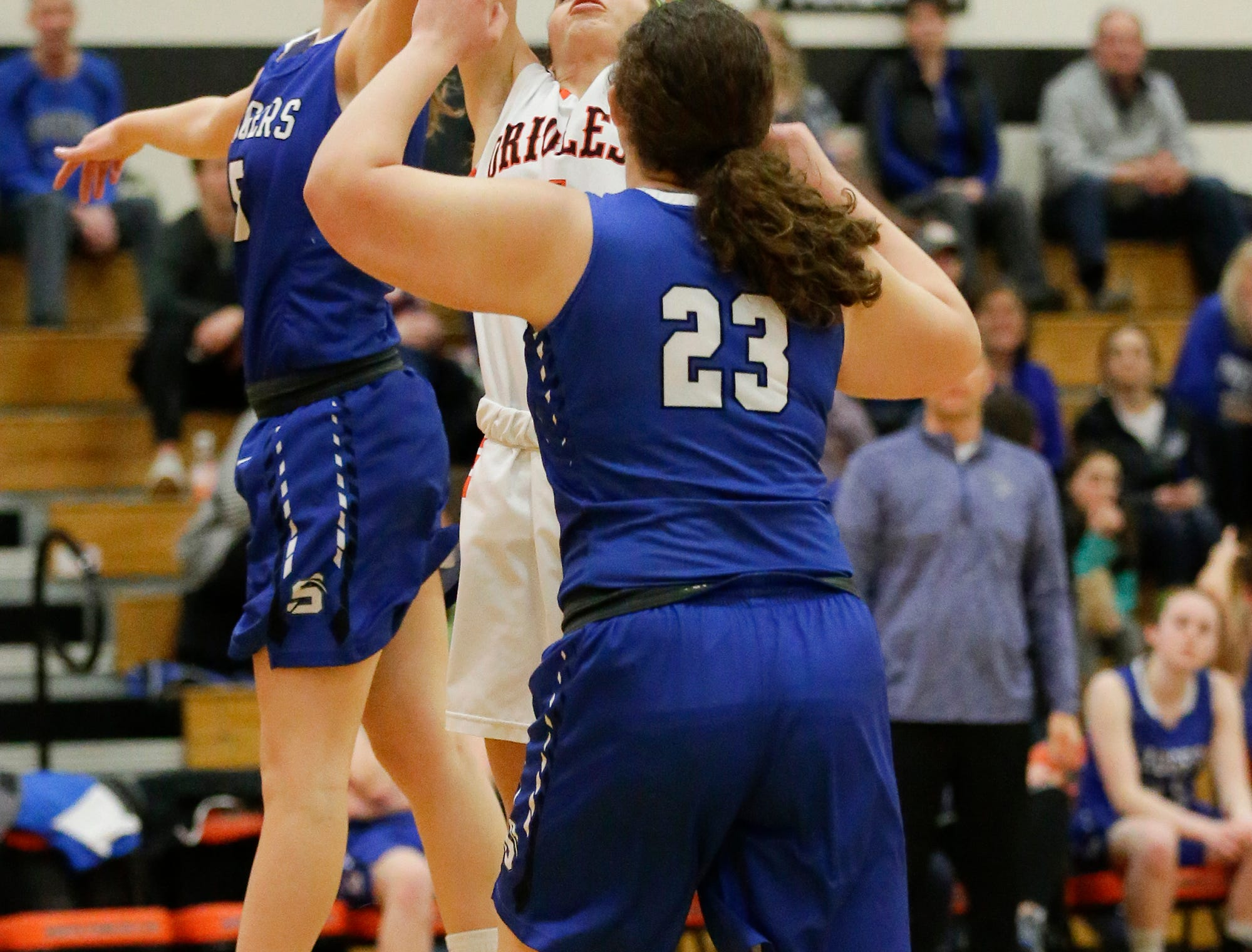 St. Mary's Springs Academy girls basketball's Gracie Rieder (5) attempts to block a shot by North Fond du Lac High School's Shalome Stettbacher during their game Friday, January 4, 2019 in North Fond du lac. Doug Raflik/USA TODAY NETWORK-Wisconsin
