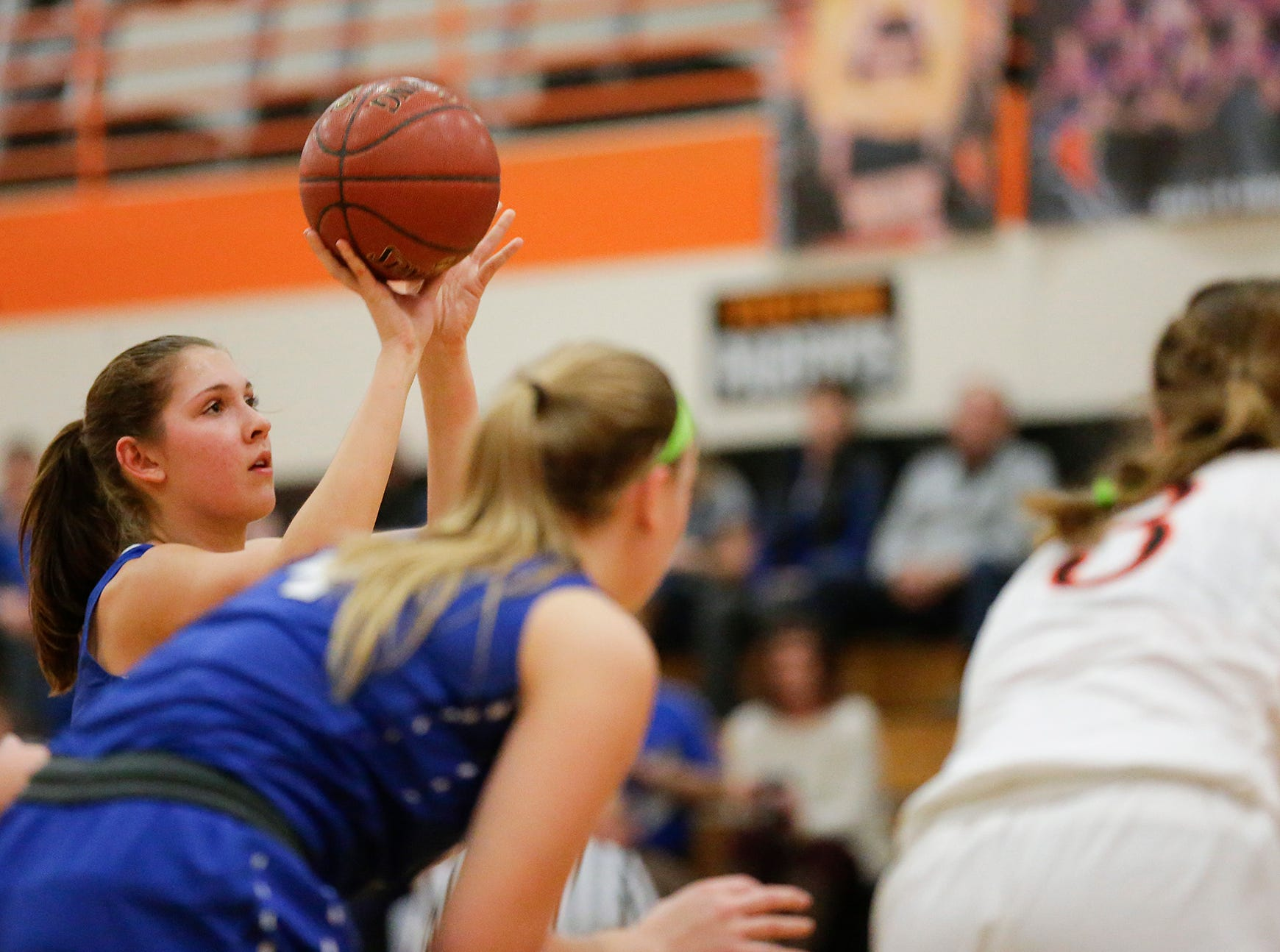 St. Mary's Springs Academy girls basketball's Maddie Gehring shoots a free throw against North Fond du Lac High School during their game Friday, January 4, 2019 in North Fond du lac. Doug Raflik/USA TODAY NETWORK-Wisconsin