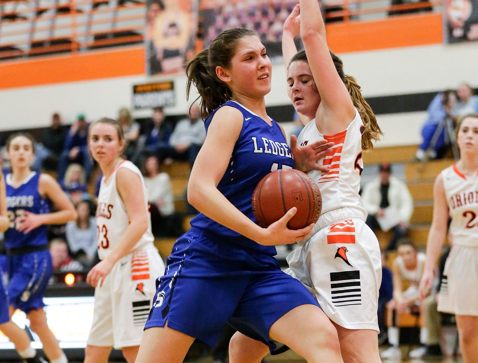 St. Mary's Springs Academy girls basketball's Maddie Gehring fouls North Fond du Lac High School's Lilly Sadoff during their game Friday, January 4, 2019 in North Fond du lac. Doug Raflik/USA TODAY NETWORK-Wisconsin