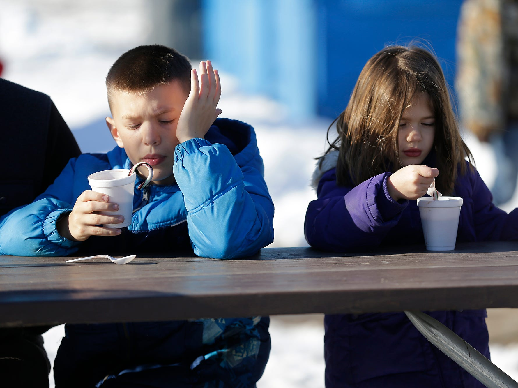 Jonas and Emie Parsons drink hot chocolate at Winterfest Saturday, January 5, 2019 at Hamilton park in Fond du Lac, Wisconsin. Doug Raflik/USA TODAY NETWORK-Wisconsin