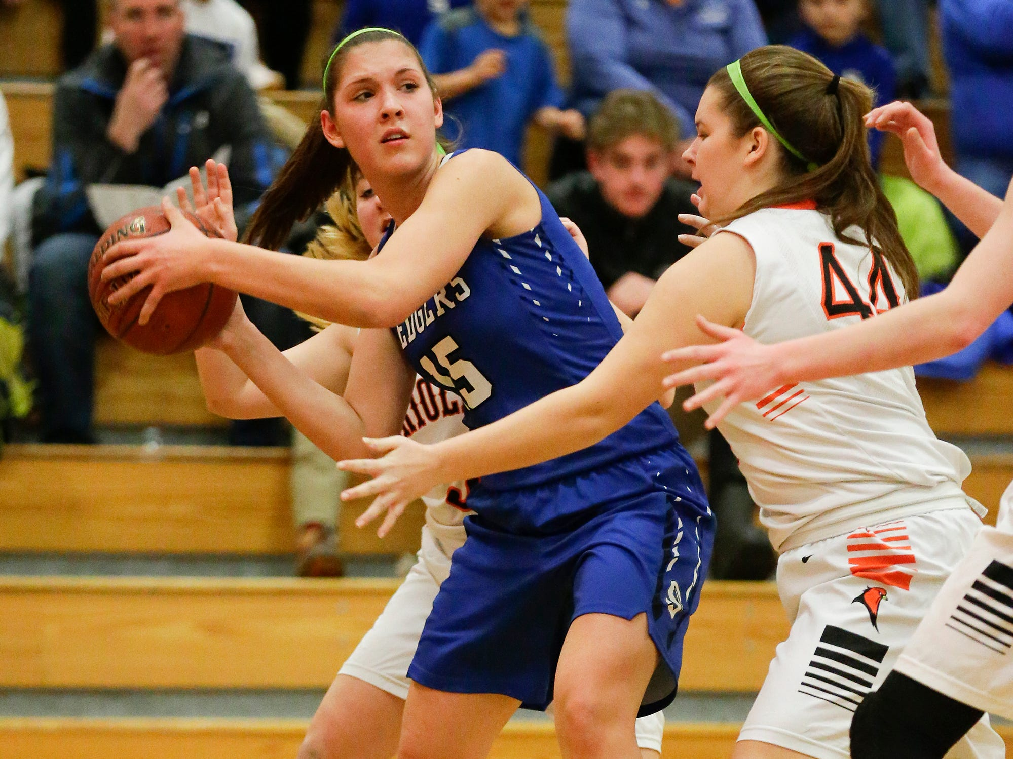 St. Mary's Springs Academy girls basketball's Maddie Gehring looks to pass the ball against North Fond du Lac High School during their game Friday, January 4, 2019 in North Fond du lac. Doug Raflik/USA TODAY NETWORK-Wisconsin
