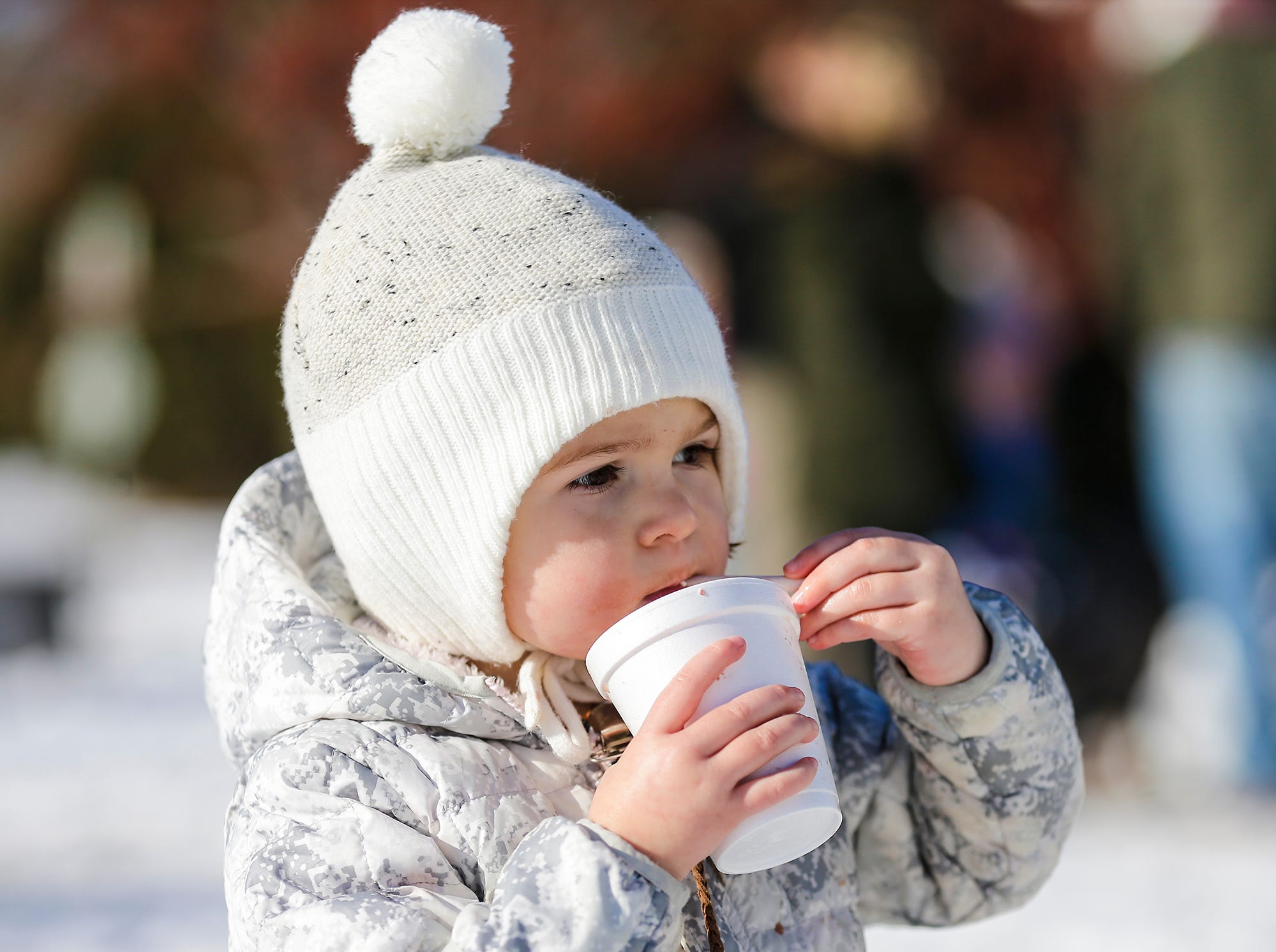 Ingrid Sande of Fond du Lac, enjoys a hot chocolate at Winterfest Saturday, January 5, 2019 at Hamilton park in Fond du Lac, Wisconsin. Doug Raflik/USA TODAY NETWORK-Wisconsin