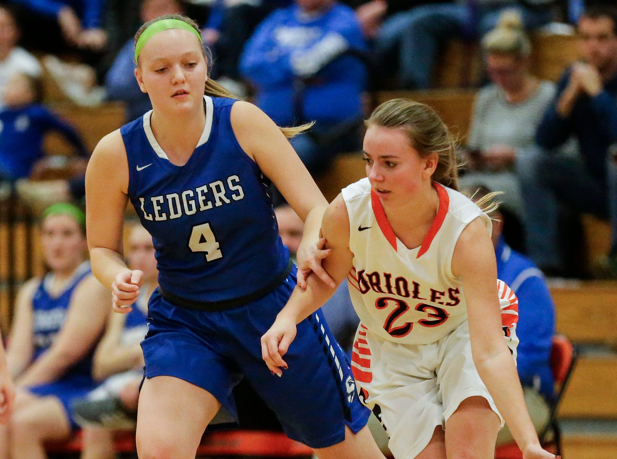North Fond du Lac High School girls basketball's Jordyn Stettbacher moves the ball past St. Mary's Springs Academy;'s Brianna Freund during their game Friday, January 4, 2019 in North Fond du lac. Doug Raflik/USA TODAY NETWORK-Wisconsin