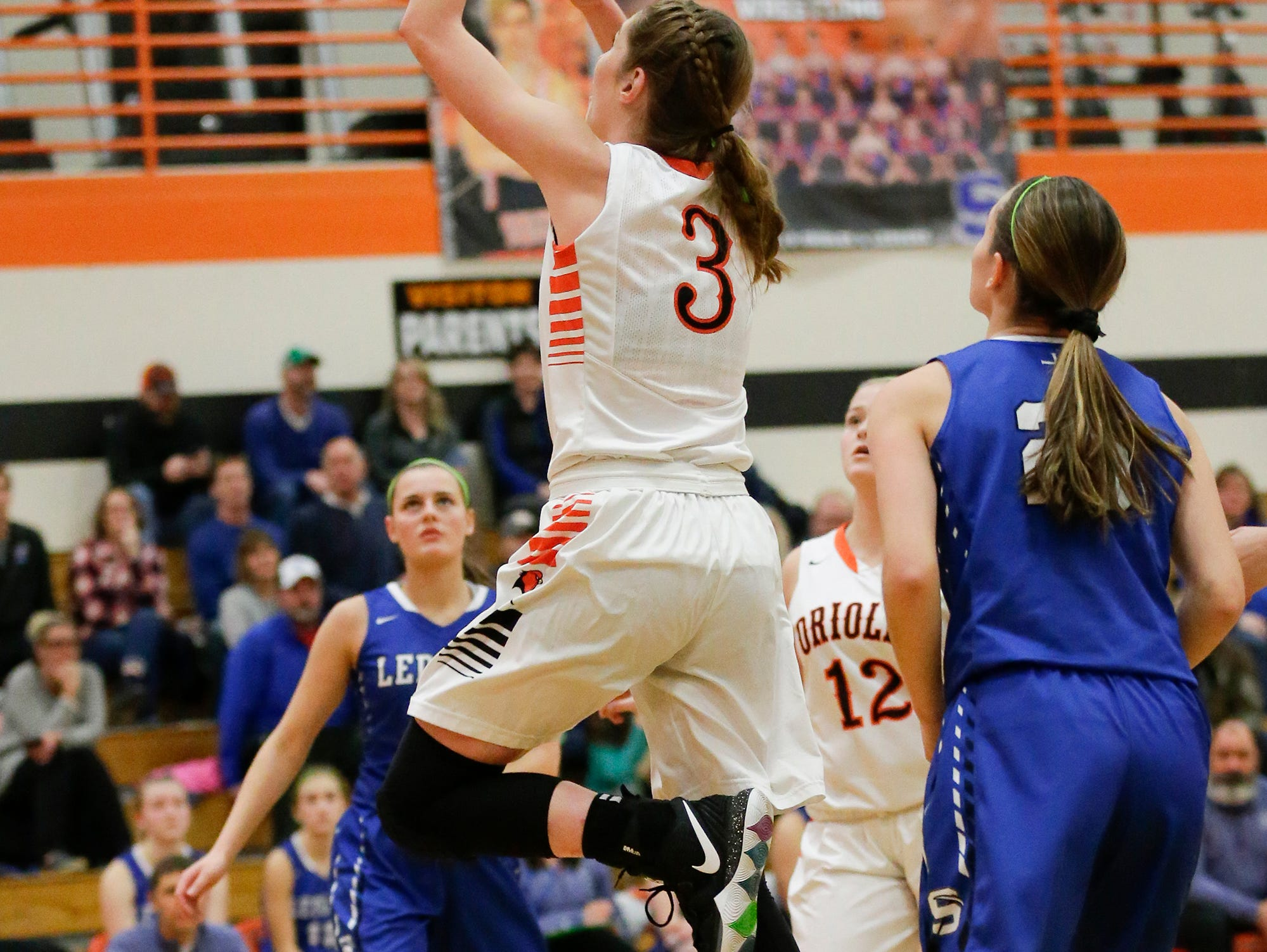 North Fond du Lac High School girls basketball's  Rebecca Kingsland goes up for a basket against St. Mary's Springs Academy during their game Friday, January 4, 2019 in North Fond du lac. Doug Raflik/USA TODAY NETWORK-Wisconsin