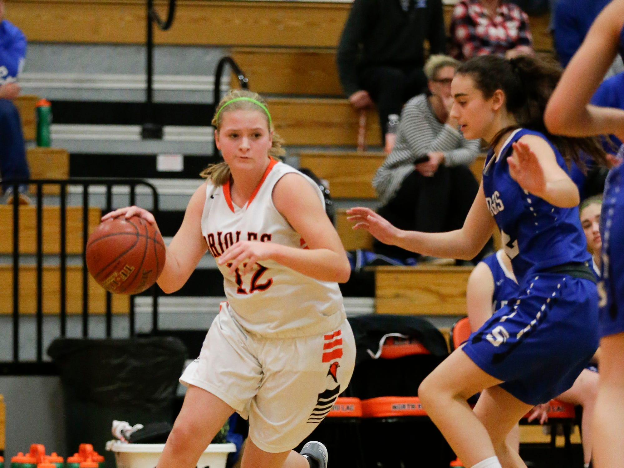 North Fond du Lac High School girls basketball's Bree Rock works her way past St. Mary's Springs Academy's Isabelle Coon during their game Friday, January 4, 2019 in North Fond du lac. Doug Raflik/USA TODAY NETWORK-Wisconsin