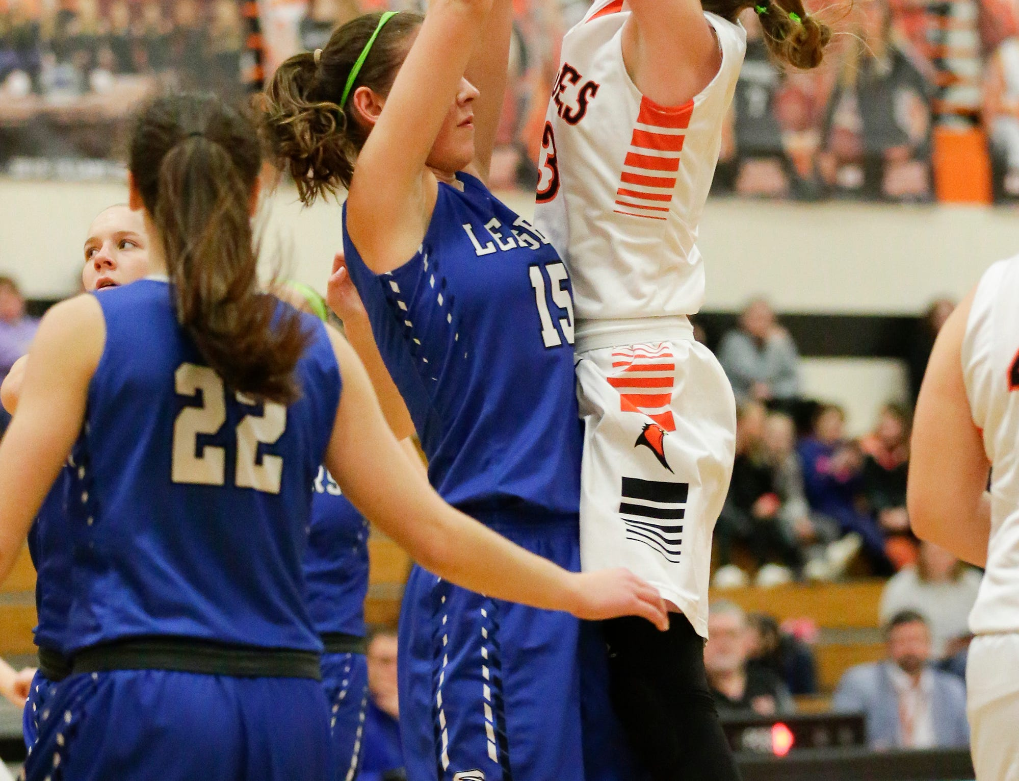 North Fond du Lac High School girls basketball's Rebecca Kingsland goes up for a shot over St. Mary's Springs Academy's Maddie Gehring during their game Friday, January 4, 2019 in North Fond du lac. Doug Raflik/USA TODAY NETWORK-Wisconsin