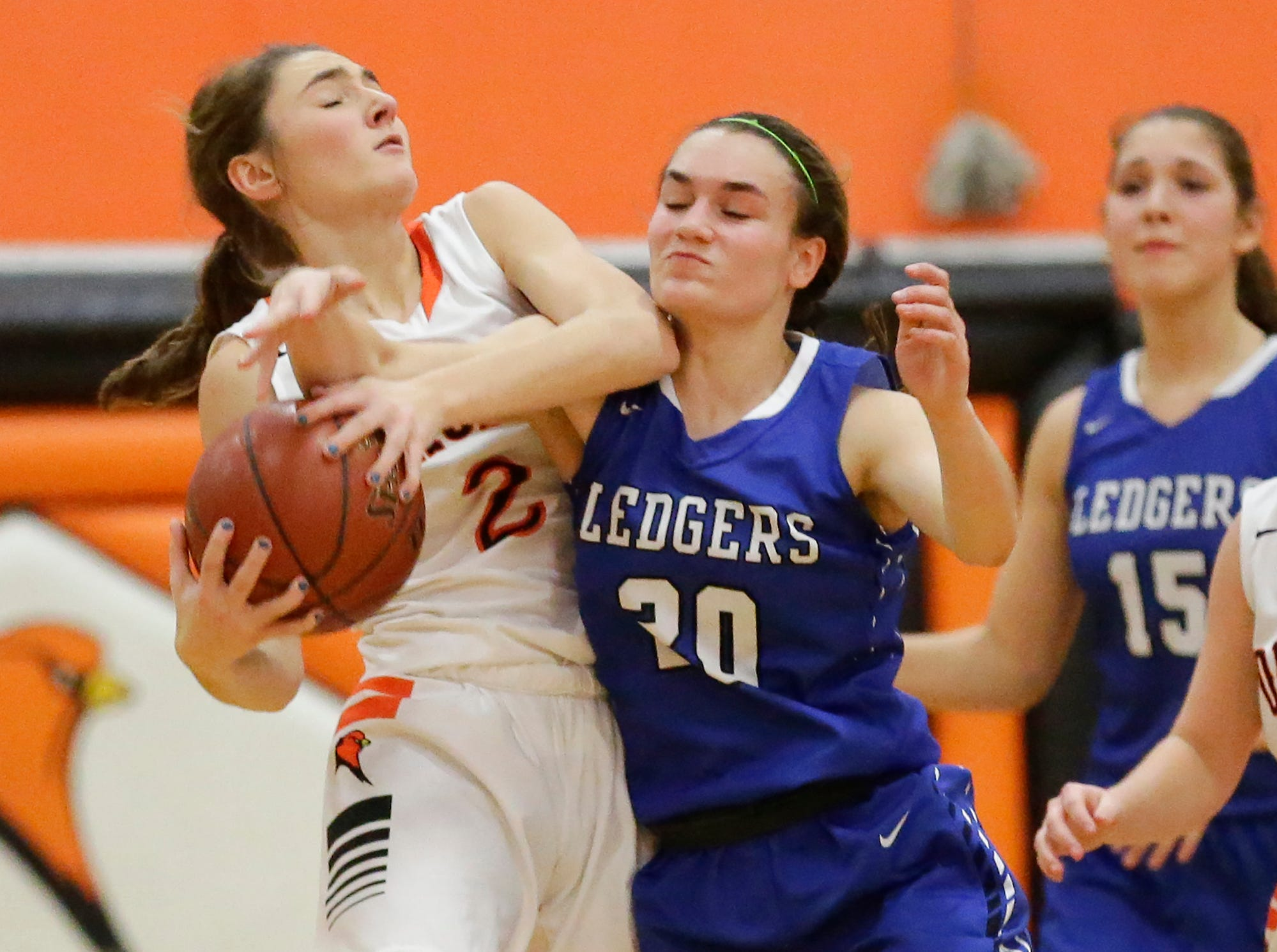 St. Mary's Springs Academy girls basketball's Jenna Gilgenbach fouls North Fond du Lac High School's Ashley Now during their game Friday, January 4, 2019 in North Fond du lac. Doug Raflik/USA TODAY NETWORK-Wisconsin