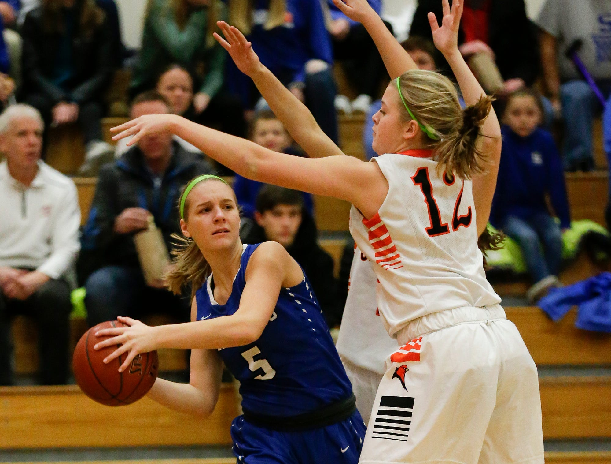 St. Mary's Springs Academy girls basketball's Gracie Rieder tries to pass the ball against North Fond du Lac High School during their game Friday, January 4, 2019 in North Fond du lac. Doug Raflik/USA TODAY NETWORK-Wisconsin