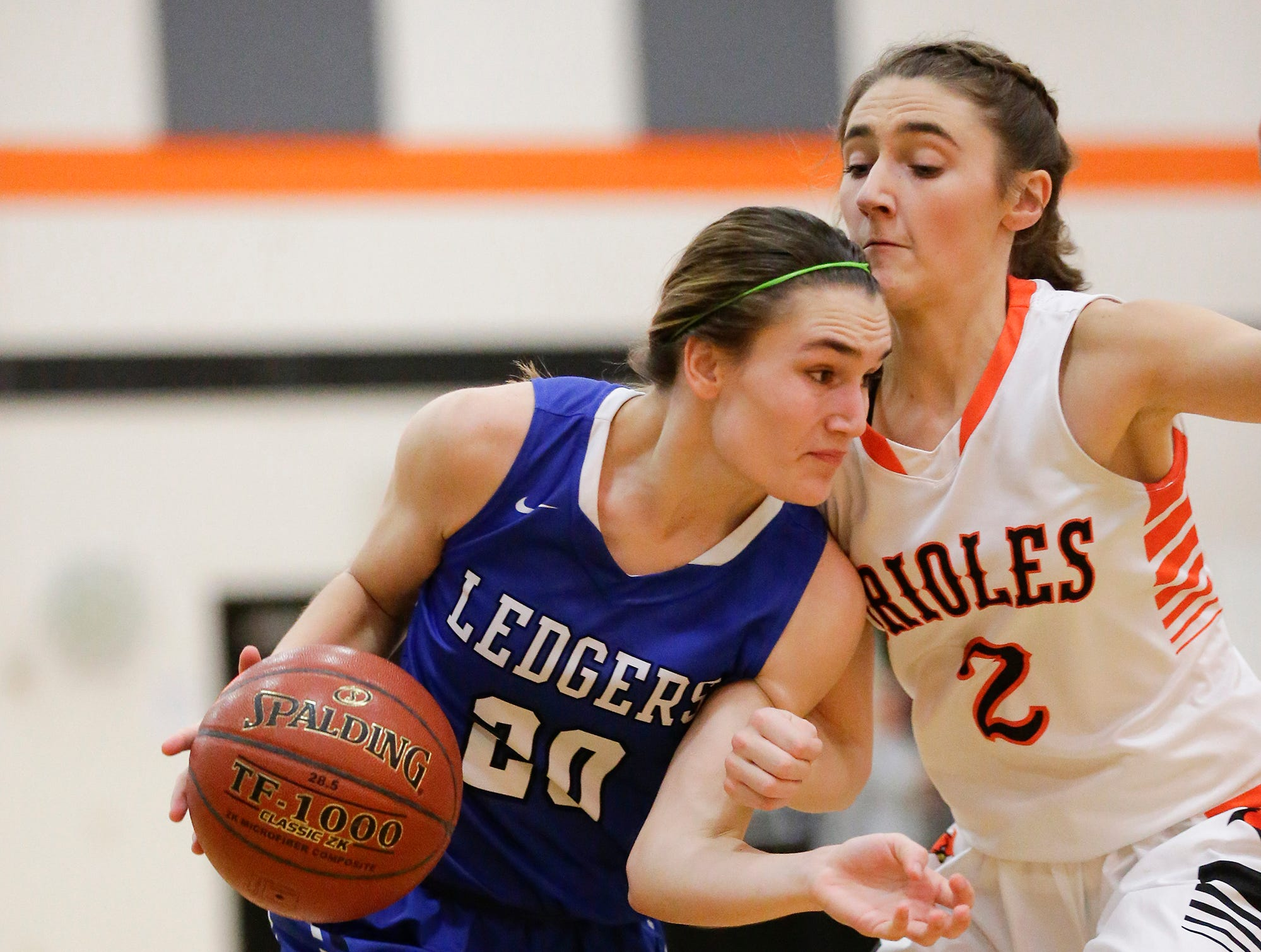 St. Mary's Springs Academy girls basketball's Jenna Gilgenbach makes her way past North Fond du Lac High School's Ashley Now during their game Friday, January 4, 2019 in North Fond du lac. Doug Raflik/USA TODAY NETWORK-Wisconsin