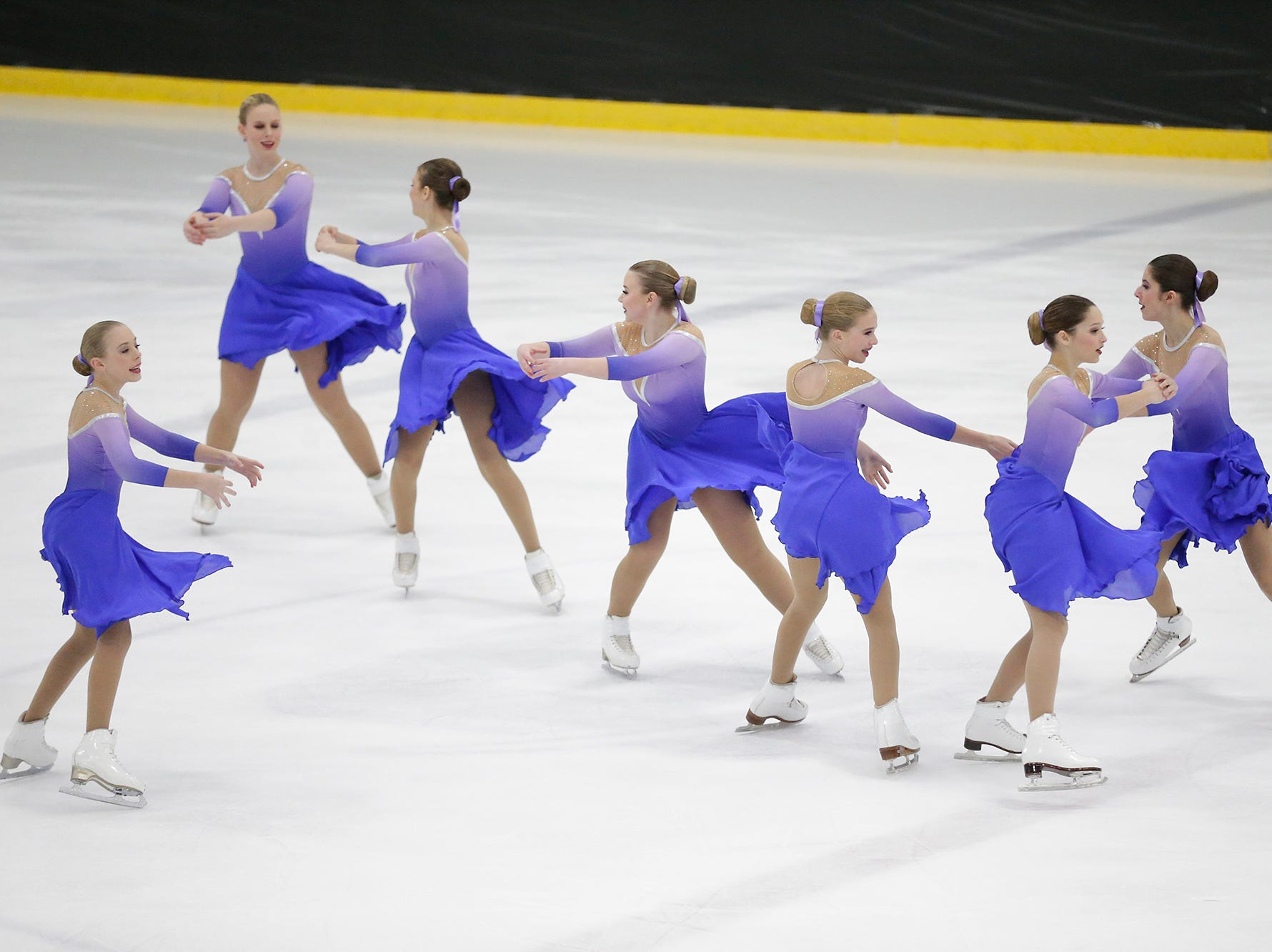 The Fond du Lac Blades perform Saturday, January 5, 2019 at the Blue Line Family Ice Center in Fond du Lac, Wisconsin during the Foot Of The Lake Synchronized Skating Classic. Dozens of teams from around the United States compete in this day long event. Doug Raflik/USA TODAY NETWORK-Wisconsin