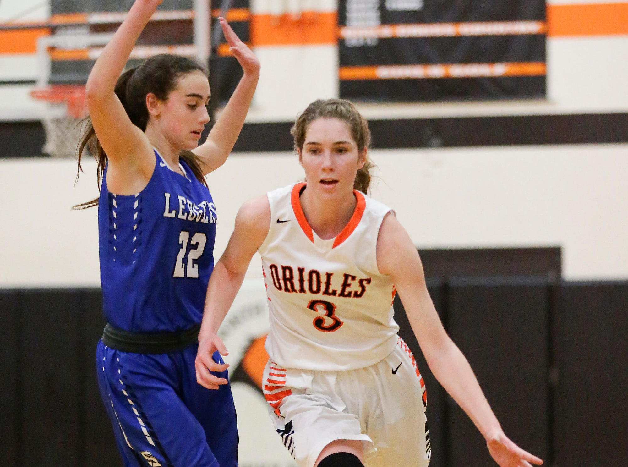 North Fond du Lac High School girls basketball's  Rebecca Kingsland moves past St. Mary's Springs Academy's Isabelle Coon during their game Friday, January 4, 2019 in North Fond du lac. Doug Raflik/USA TODAY NETWORK-Wisconsin