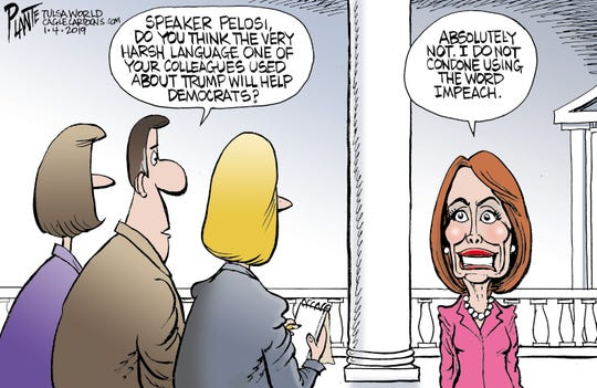 Bruce Plante Cartoon: Pelosi on harsh language, Speaker Nancy Pelosi, Democratic Party, DNC, United States House of Representatives, 116th Congress, U.S. House, vulgarity, Plante 20190105