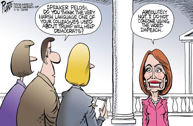 Bruce Plante Cartoon: Pelosi on harsh language, Speaker Nancy Pelosi, Democratic Party, DNC, United States House of Representatives, 116th Congress, U.S. House, vulgarity, Plante 20190105