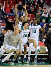 Phoenix guard Trevian Bell (13) celebrates as the Phoenix win at the buzzer against the Cleveland State.