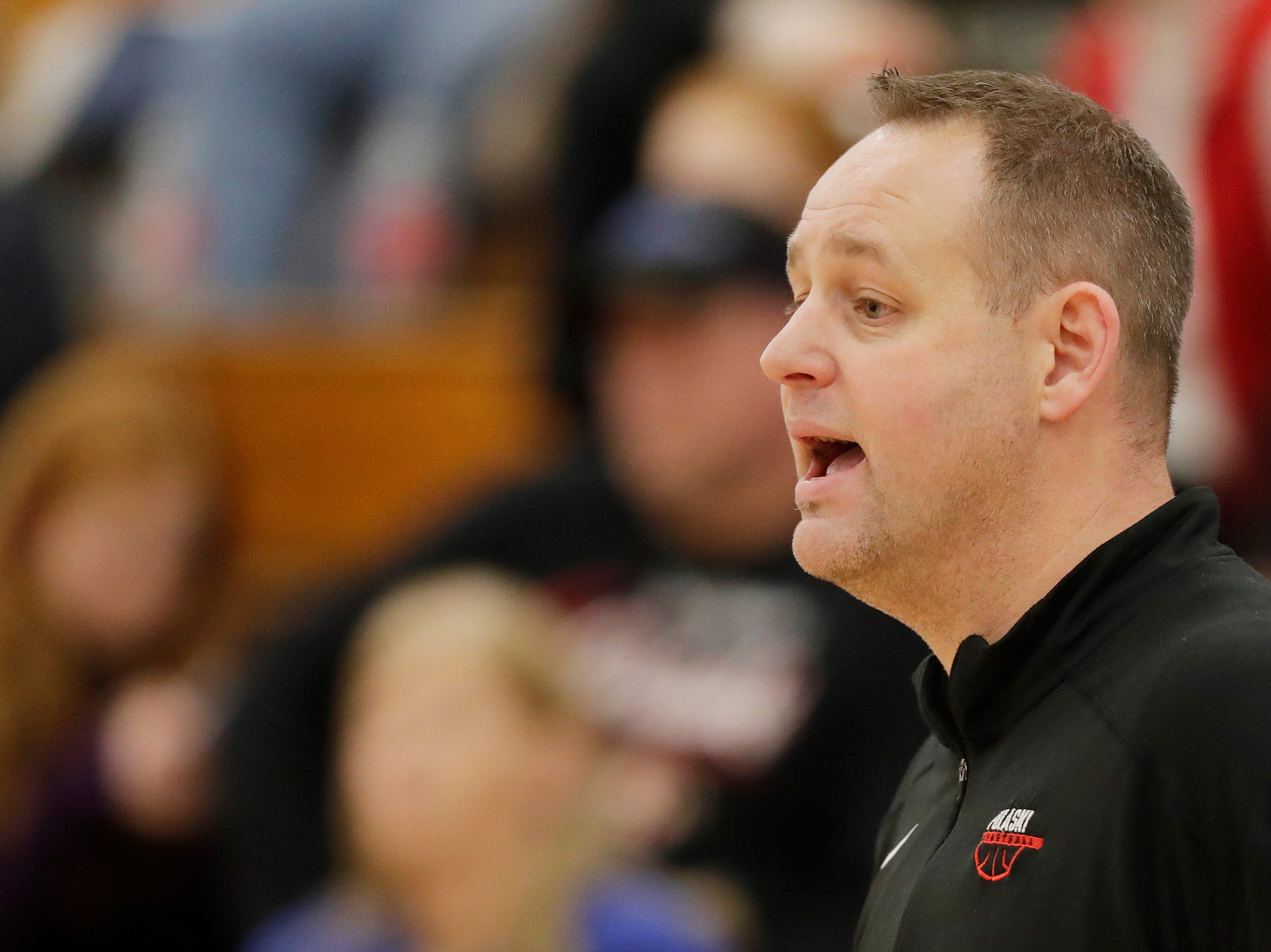Pulaski's head coach Jeff Charney during a game against Bay Port at Pulaski high school on Friday, January 4, 2019 in Pulaski, Wis.