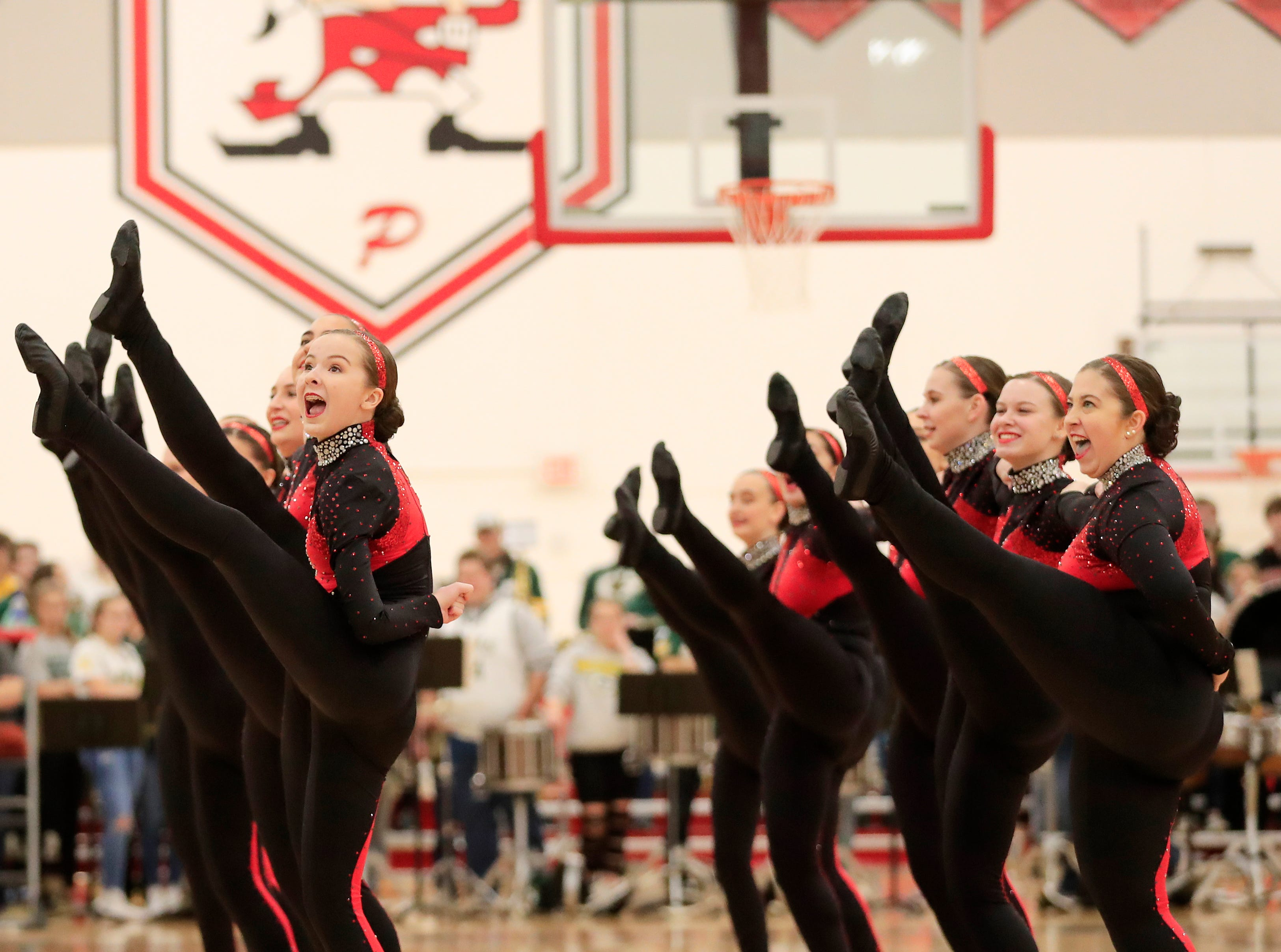 Pulaski's dance team performs at halftime of a girls basketball game at Pulaski high school on Friday, January 4, 2019 in Pulaski, Wis.
