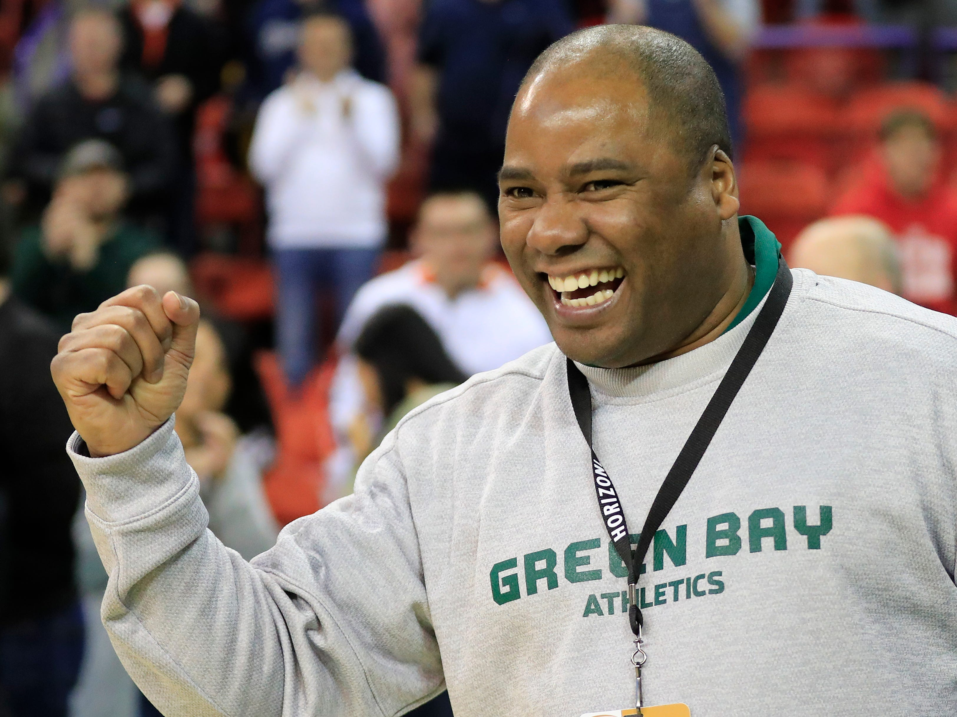 Green Bay Phoenix Charles Guthrie celebrates after the Phoenix defeated the Cleveland State Vikings in a Horizon League basketball game at the Resch Center on Saturday, January 5, 2019 in Green Bay, Wis.