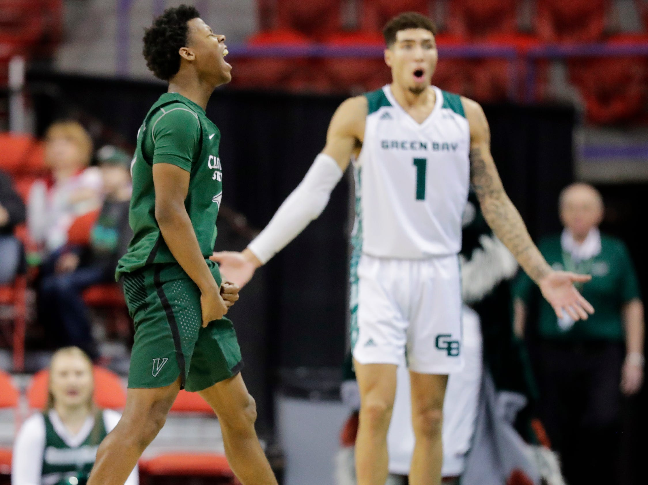 Cleveland State Vikings guard Tyree Appleby (1) reacts after getting fouled on a made three point shot by Green Bay Phoenix guard Sandy Cohen III (1) in a Horizon League basketball game at the Resch Center on Saturday, January 5, 2019 in Green Bay, Wis.