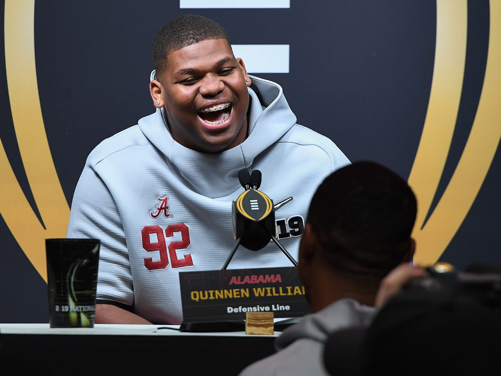 Alabama defensive lineman Quinnen Williams laughs while answering questions during the Tide's National Championship media day in Santa Jose, CA Saturday, January 5, 2019.