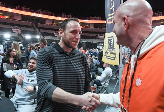 Hot Dog eating champion Joey Chestnut of San Jose meets Tracy Swinney during Media Day in the SAP Center in San Jose, California January 5, 2019.