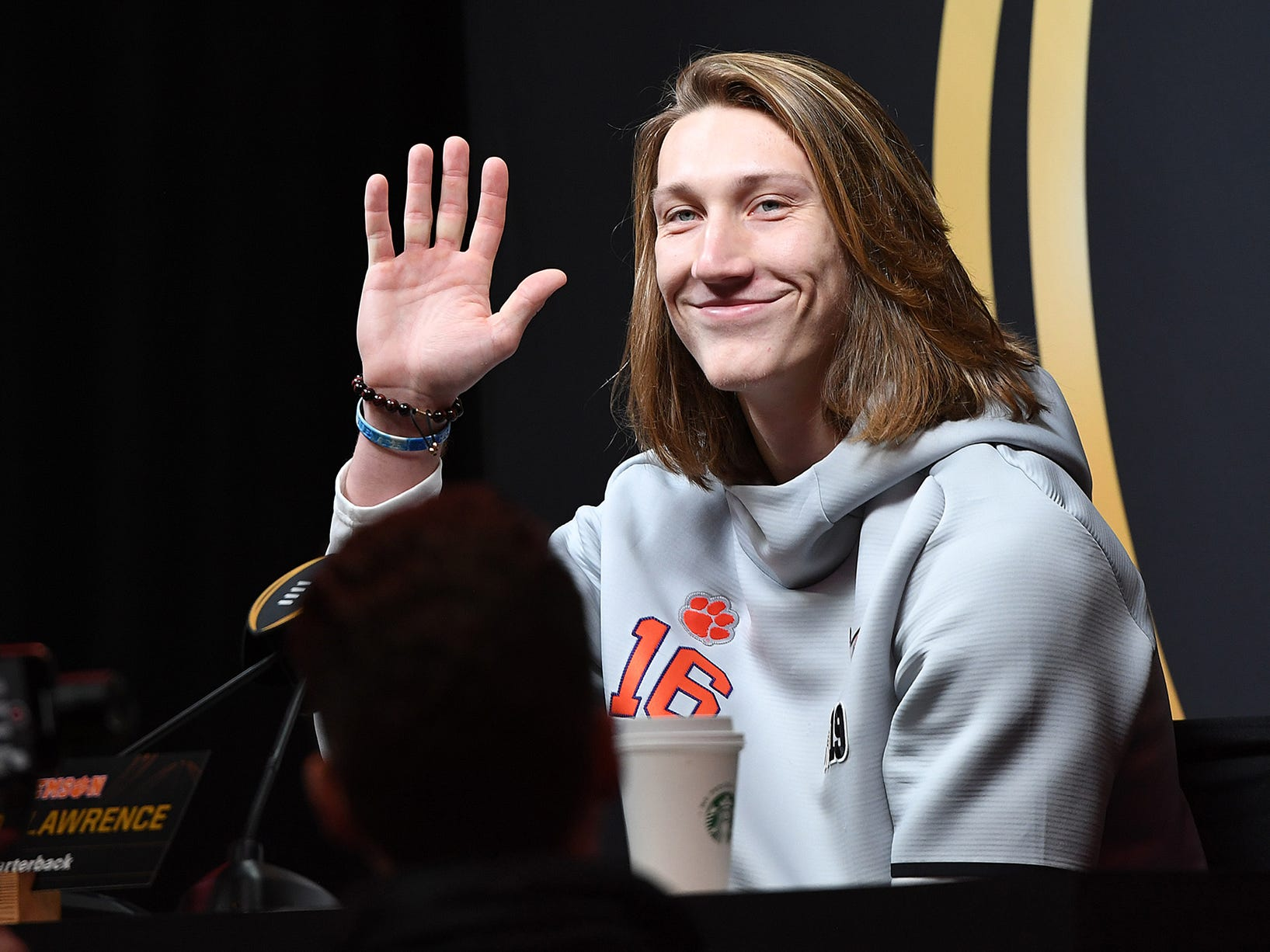 Clemson quarterback Trevor Lawrence during the Tigers' National Championship media day in Santa Jose, CA Saturday, January 5, 2019.