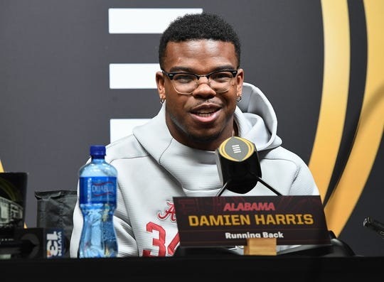 Alabama running back Damien Harris answers questions during the Tide's National Championship media day in Santa Jose, CA Saturday, January 5, 2019.