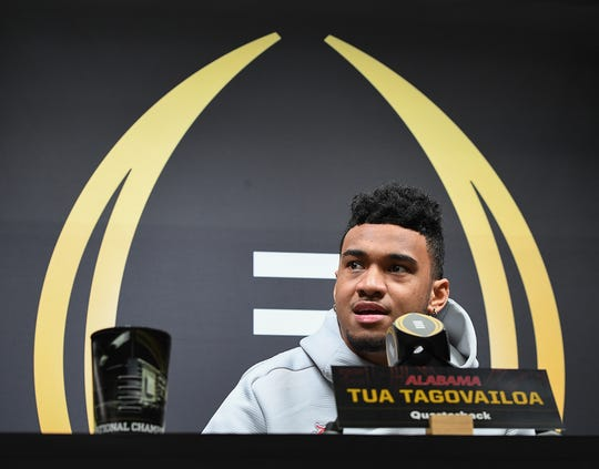 Alabama quarterback Tua Tagovailoa answers questions during the Tide's National Championship media day in Santa Jose, CA Saturday, January 5, 2019.
