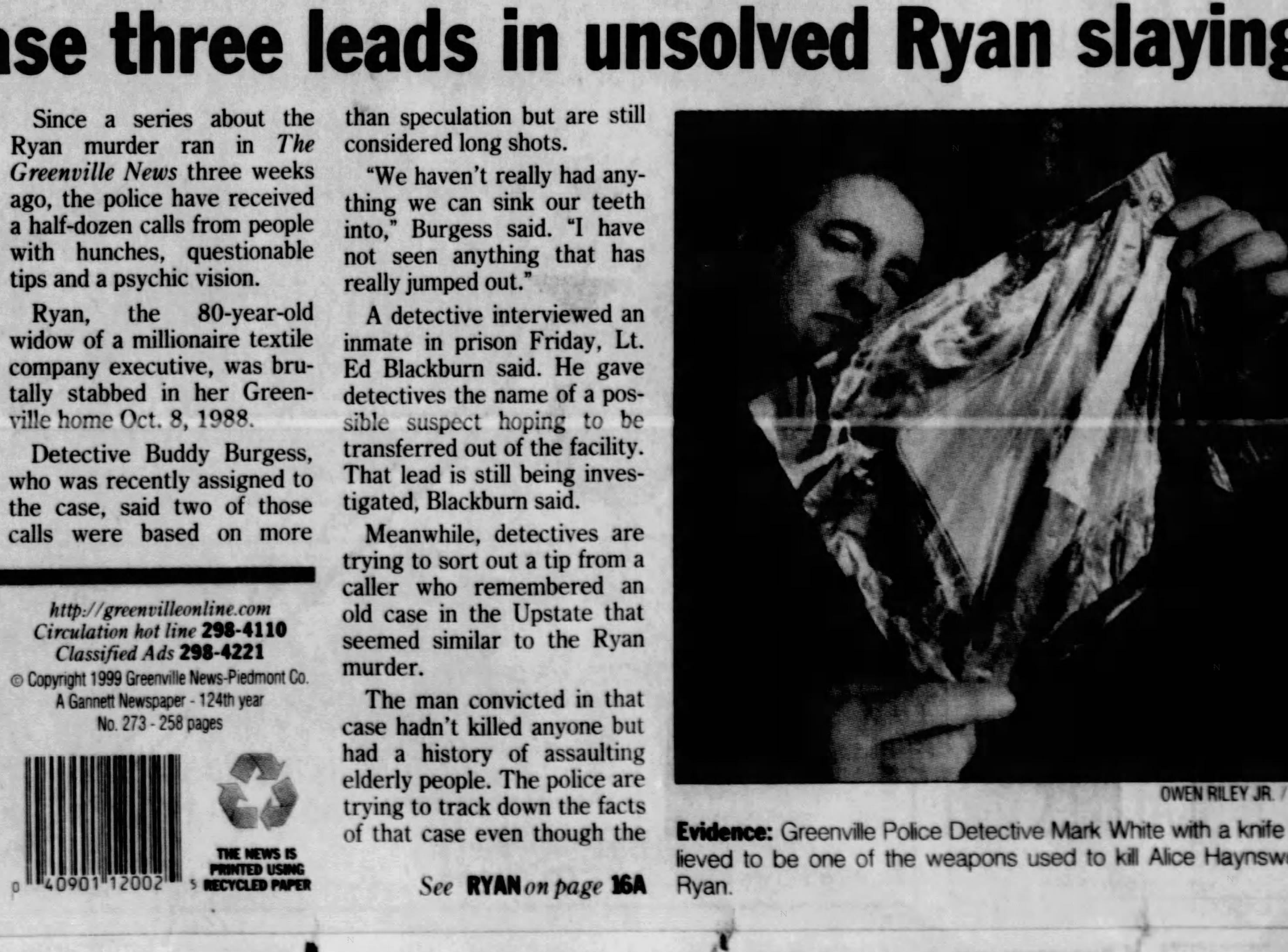 Newspaper clipping from The Greenville News on Sunday, October 24, 1999.