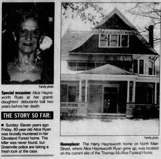 Greenville News newspaper clipping from Monday, October 4, 1999.