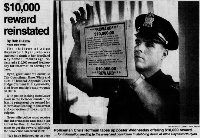 Newspaper clipping from The Greenville News on Thursday, August 17, 1989.