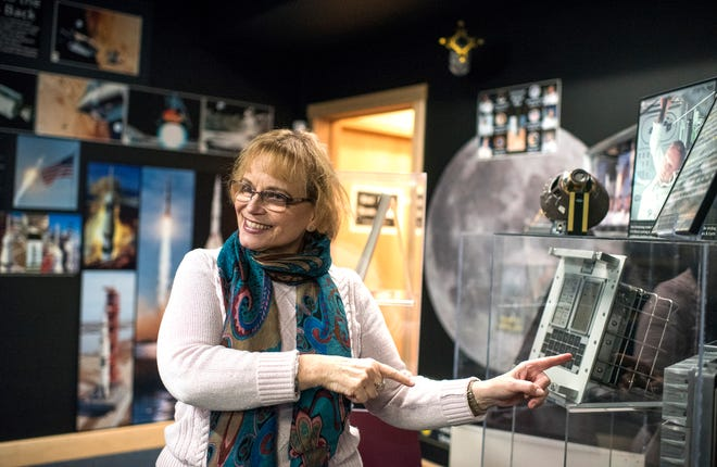 "Barbara Keremedjiev talks about the a keypad of a guidance computer used on the Apollo space missions, Wednesday, Jan. 2, 2019, at the American Computer & Robotics Museum in Bozeman, Mont. Keremedjiev recently reopened the museum after the passing of her husband, George Keremedjiev. She says she would like the museum to be a ""living legacy to George."" (Shawn Raecke/Bozeman Daily Chronicle via AP)"