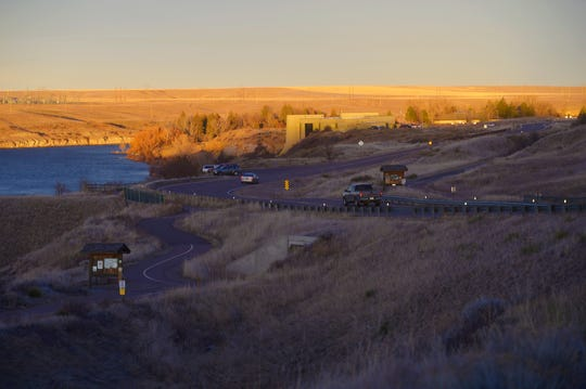 Lewis and Clark Interpretive Center and the Missouri River at sundown, December 13, 2018.
