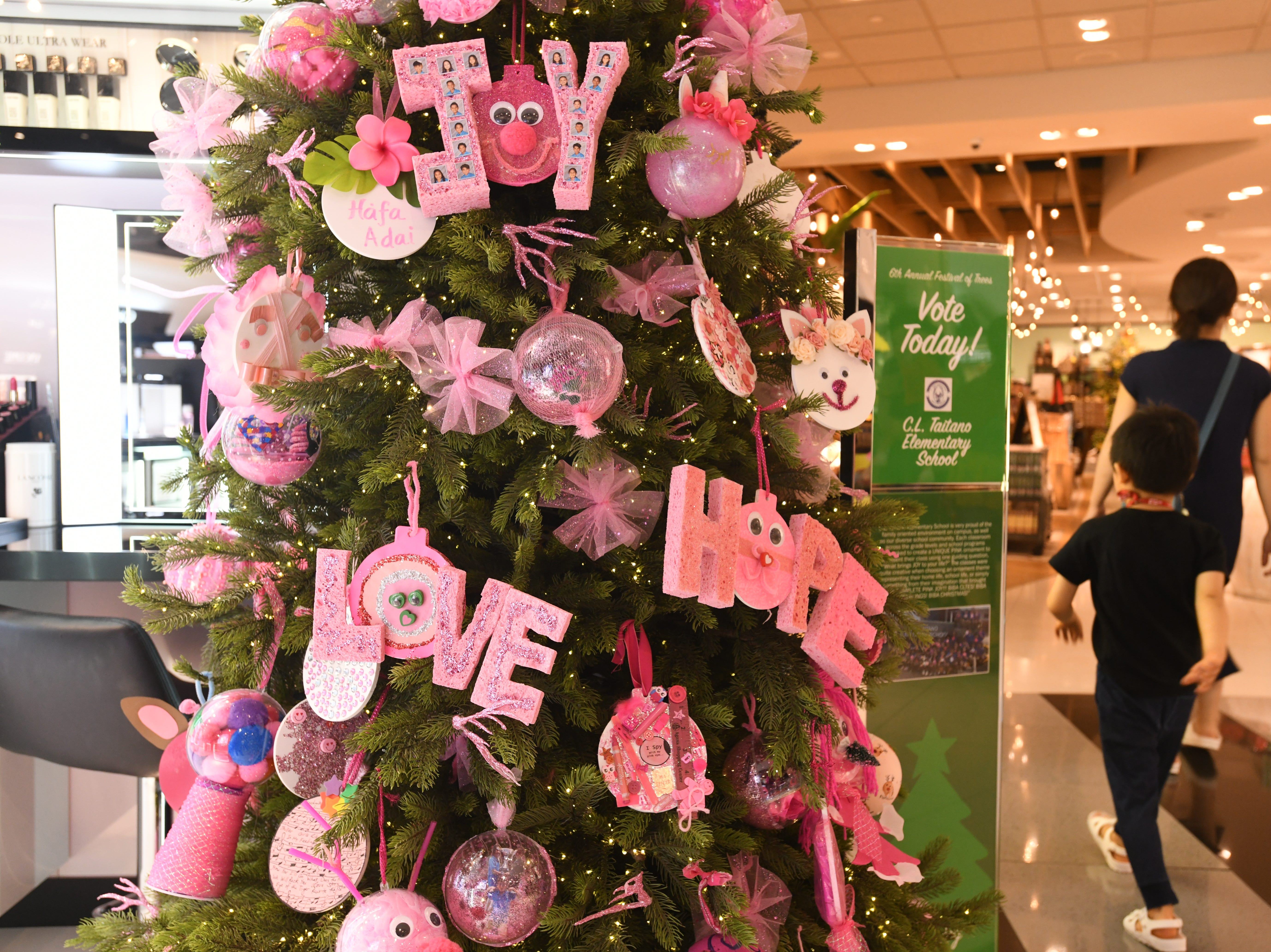 Pink was the color scheme assigned to C.L. Taitano Elementary School for their Christmas decorated tree entered in the 6th annual Festival of Trees competition at the T Galleria by DFS in Tumon on Saturday, Jan. 5, 2019. The school placed third in the competition and was awarded $500 for their creativity in dressing up the tree.