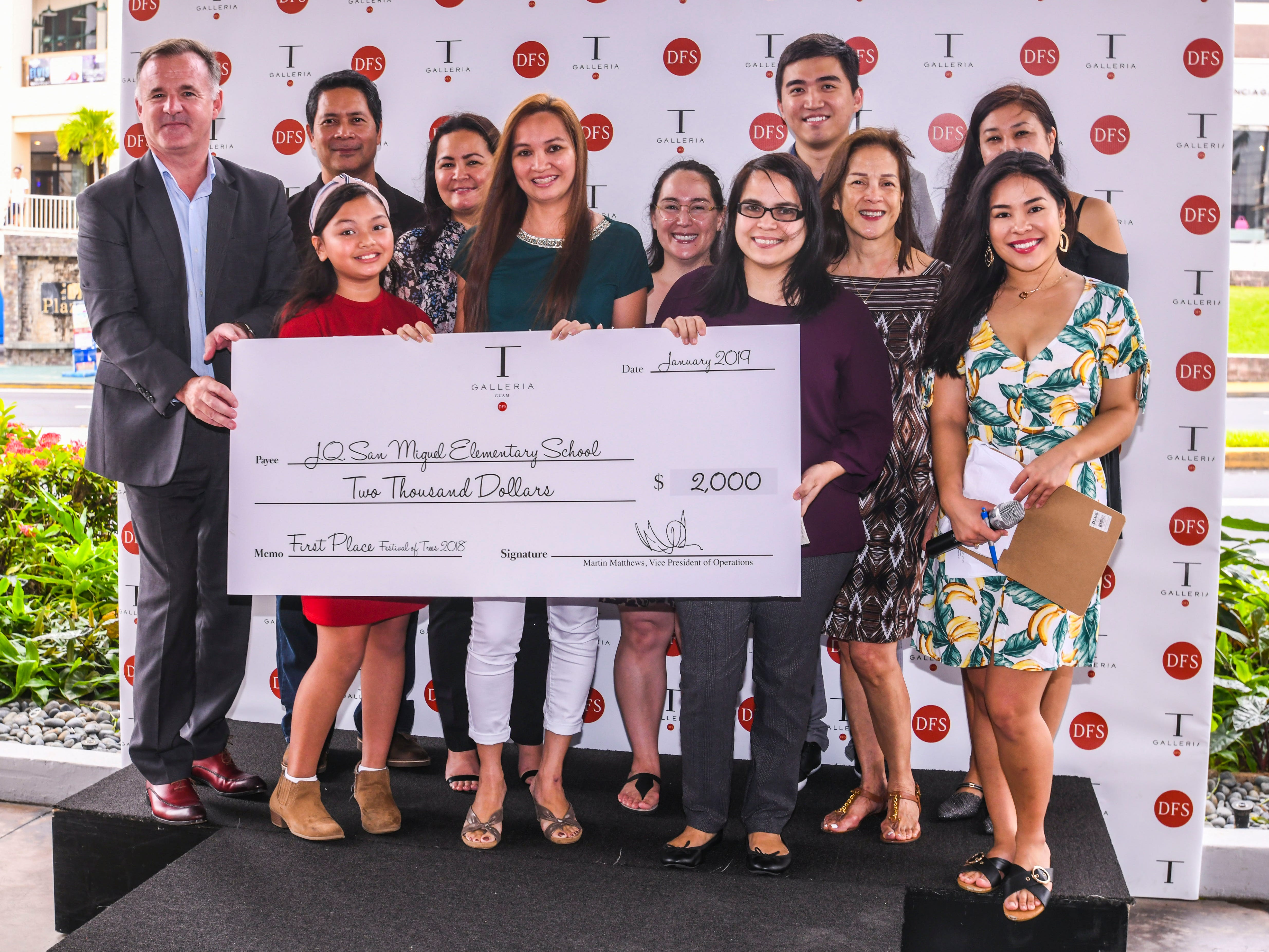 J.Q. San Miquel Elementary School was announced as the first place winner and awarded $2,000 in the 6th annual Festival of Trees competition during a brief ceremony at the T Galleria by DFS in Tumon on Saturday, Jan. 5, 2019.