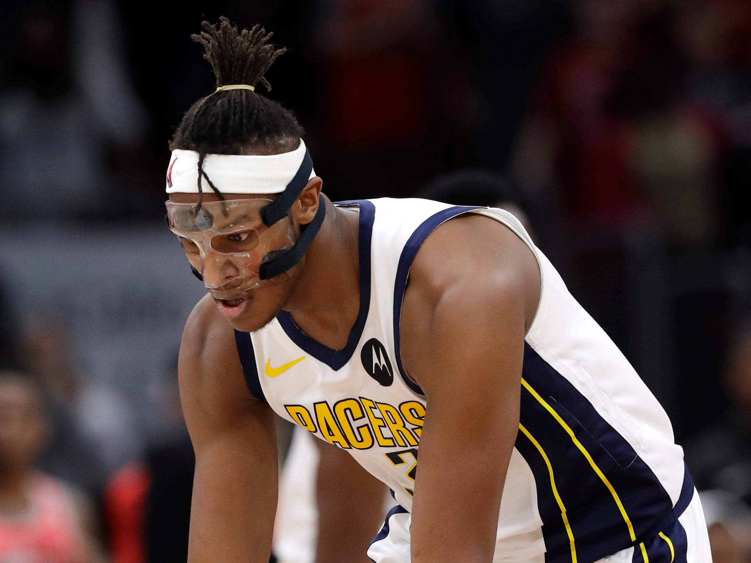 Indiana Pacers center Myles Turner reacts after he made a three-point basket against the Chicago Bulls during overtime of an NBA basketball game Friday, Jan. 4, 2019, in Chicago. (AP Photo/Nam Y. Huh)
