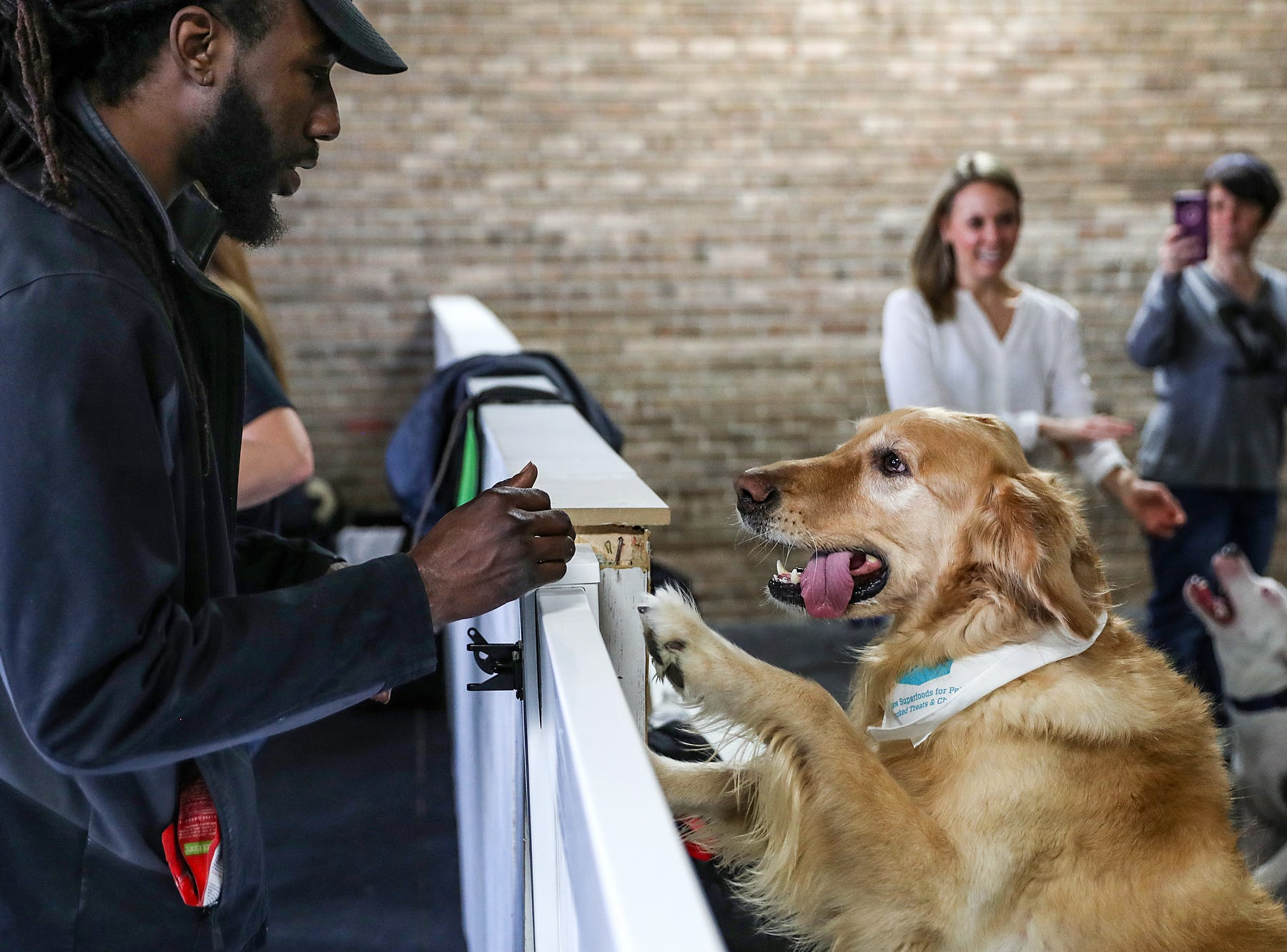 Janey Brown greets a dog during the grand opening of Indy's Indoor Bark Park in Indianapolis, Saturday, Jan, 5, 2019. The large indoor space offers owners a place to exercise their dogs regardless of the weather. Membership options include single-day, multi-day and annual passes.