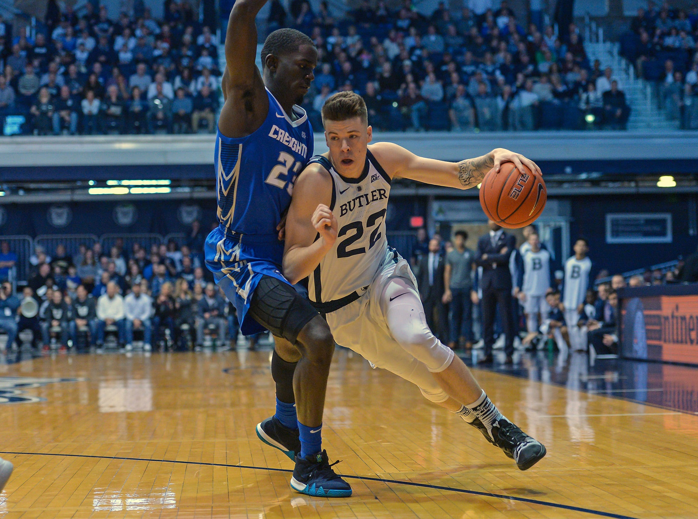Butler Bulldogs forward Sean McDermott (22) works the ball against Creighton Bluejays forward Damien Jefferson (23) during the first half of game action between Butler University and Creighton University, at Hinkle Fieldhouse in Indianapolis, Indiana on Saturday, Jan. 5, 2019.