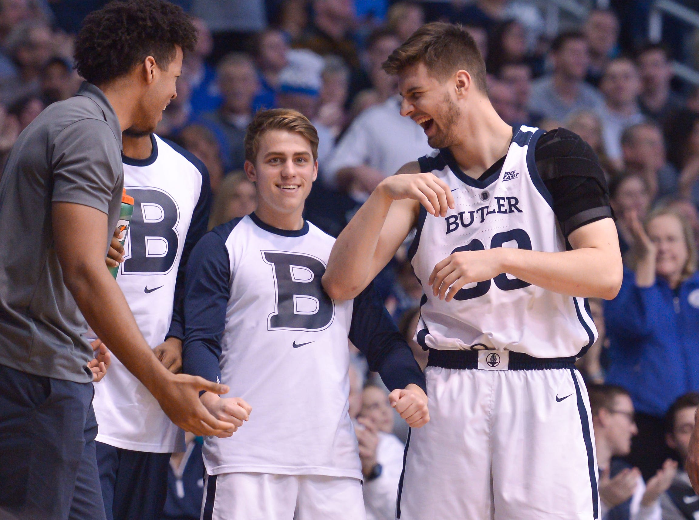 Butler Bulldogs bench players share a laugh during the second half of game between Butler University and Creighton University, at Hinkle Fieldhouse in Indianapolis, Indiana on Saturday, Jan. 5, 2019. The Butler Bulldogs defeated the Creighton Bluejays 84-69.